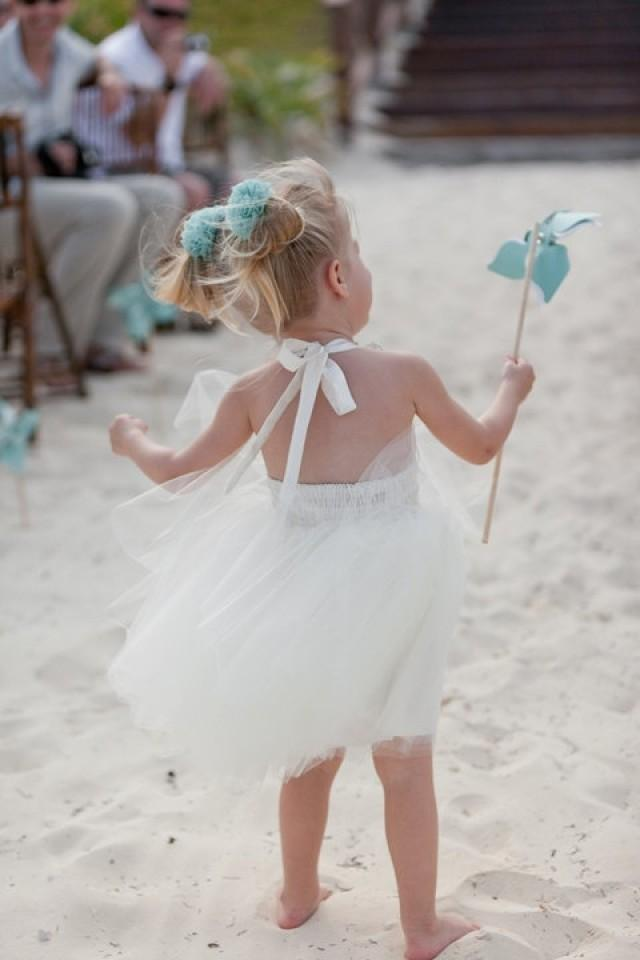 Destination wedding beach flower girl dress in ivory for Flower girl dress for beach wedding