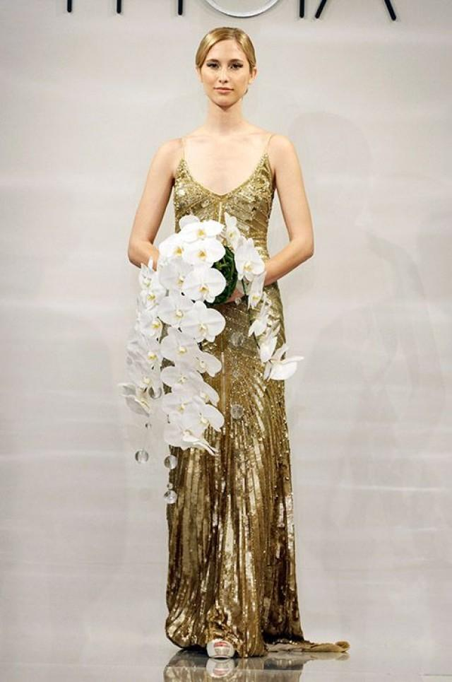 A gold art deco wedding dress from the theia fall 2014 for The great gatsby wedding dresses