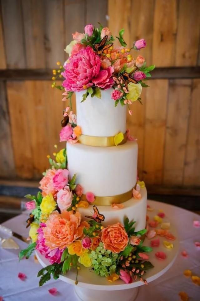 0 Interest Car Deals >> Wedding Cakes - Bright Sugar Flower Wedding Cake #2040215 - Weddbook