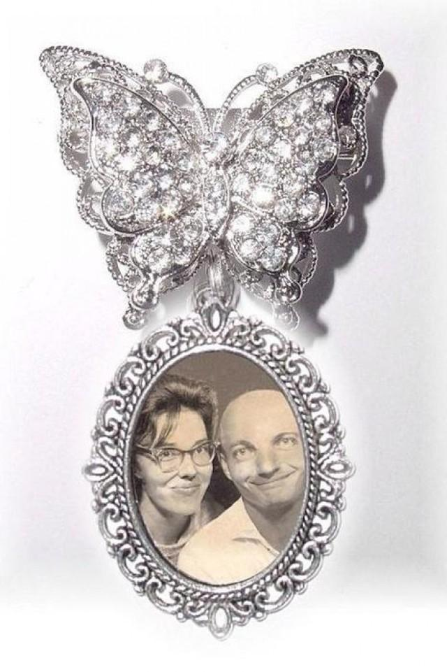 wedding photo - Photo Charm Memorial Wedding Brooch 3D Butterfly Silver Photo Charm Clear Crystals Gems - FREE SHIPPING