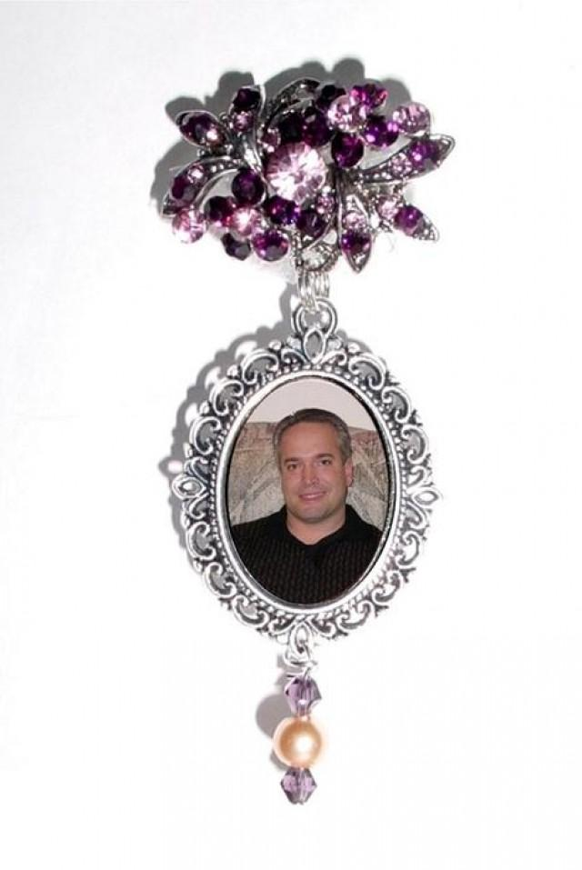 wedding photo - Memorial Photo Brooch Oval Metal Charm Old World Plum Purple Peach Crystals Gems - FREE SHIPPING