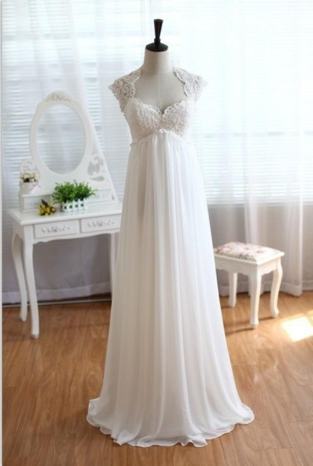 Ivory chiffon lace wedding dress empire wasit dress cap for Lace cap sleeve keyhole back wedding dress