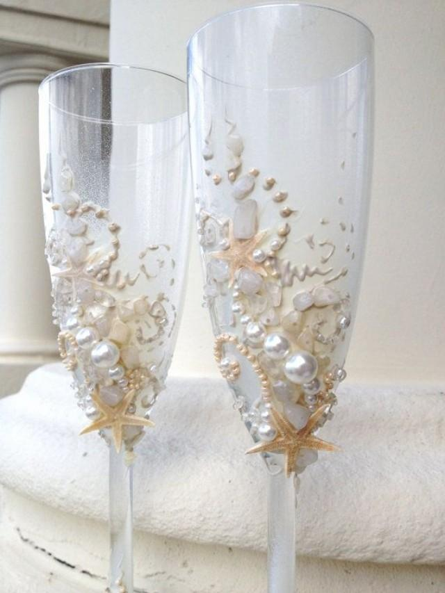 starfish wedding champagne glasses beach wedding toasting flutes in