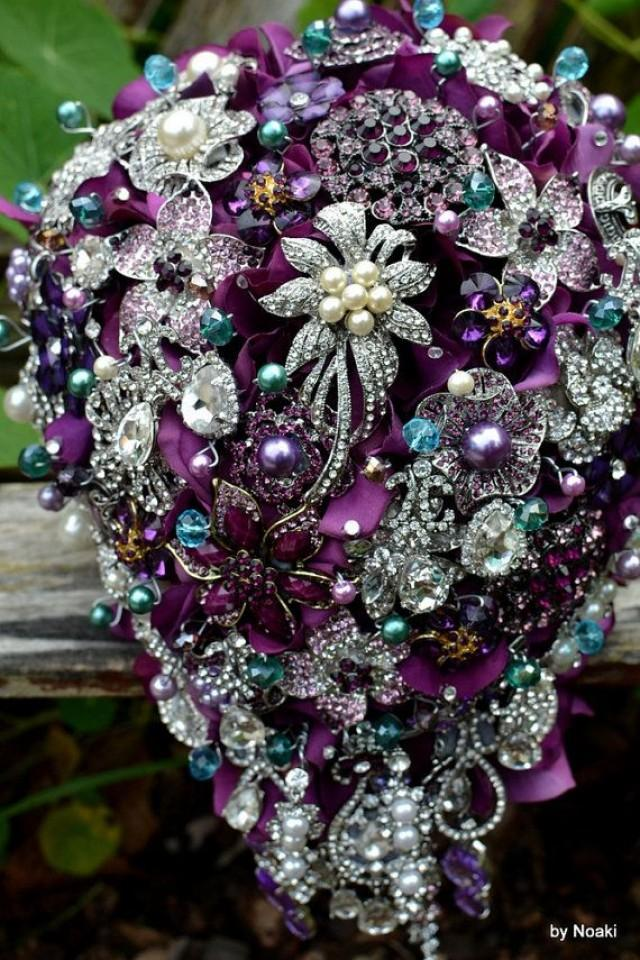 Wedding Brooch Bouquet Nz : Cascading purple and teal wedding bouquet made to order
