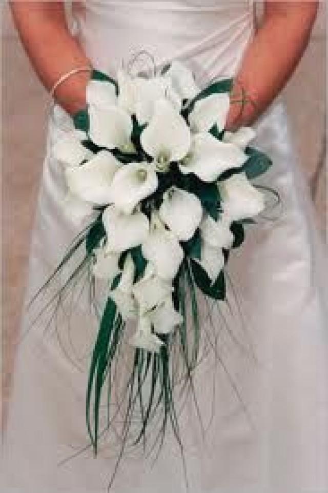 White Calla Lily Cascade Bridal Bouquet
