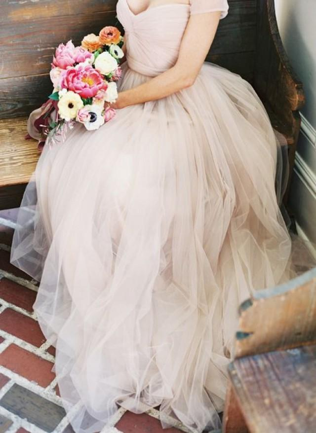 Wedding dresses blush tulle wedding dress 2043688 weddbook