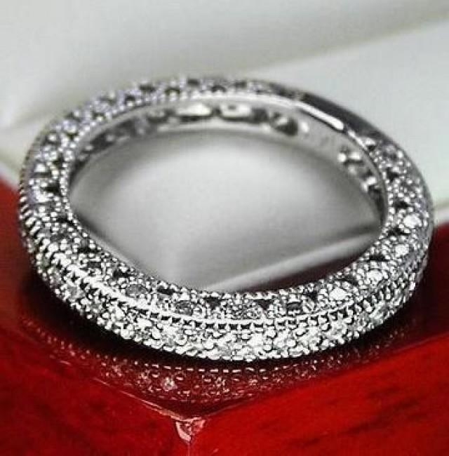 Unique Vintage Genuine Diamond Wedding Band Ring For Women 14k Solid White Go