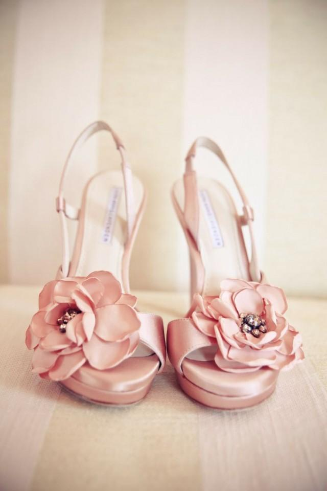 blush wedding pretty pink wedding shoes with flowers