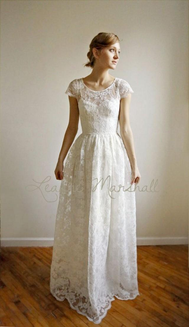 Ellie long 2 piece lace and cotton wedding dress price for Simple cotton wedding dress