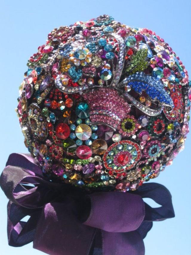 Bridal Bouquet Made Of Jewels : Bridal brooch bouquet rich jewel tones with aubergine