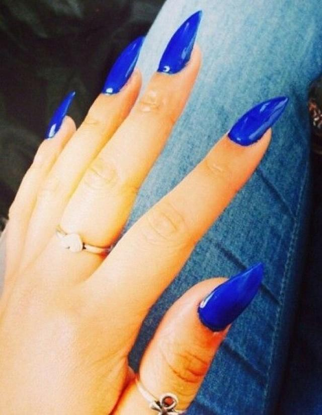 Blue Wedding Blue Stiletto Nails 2047200 Weddbook