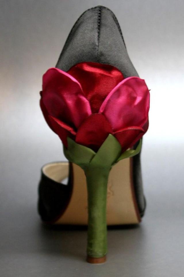 custom wedding shoes black satin peeptoes with red rose
