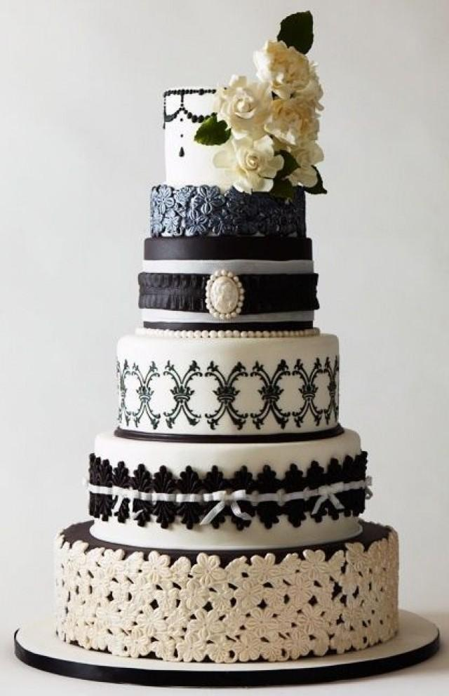 black wedding ornate black and white wedding cake 2047932 weddbook. Black Bedroom Furniture Sets. Home Design Ideas