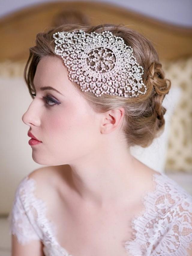 Silver Crystal Bridal Headpiece Art Deco Crystal Beaded