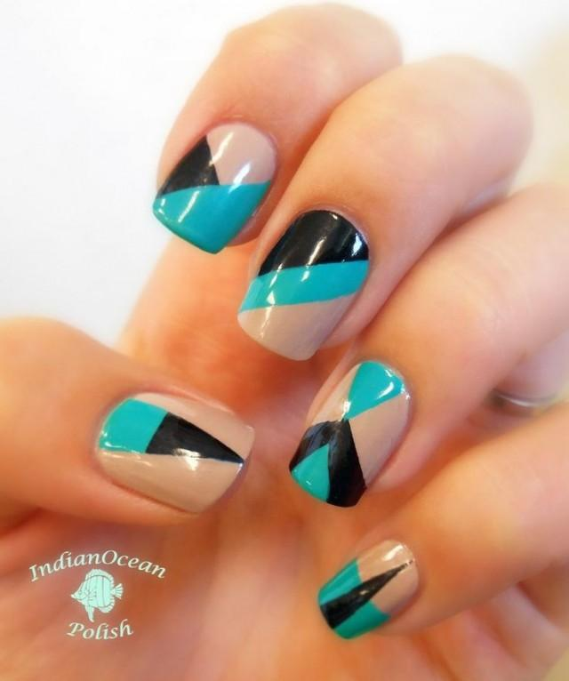 Indian Ocean Polish Colour Blocking Nails With Opi Fly