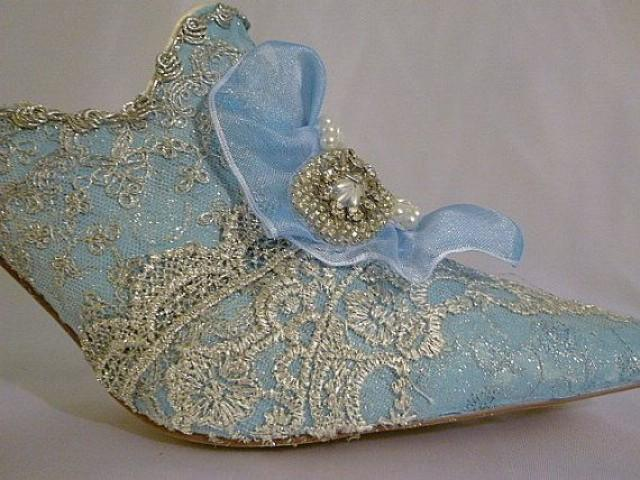 Marie Antoinette Themed Wedding Shoes In Blue And Silver Sparkle 2048381