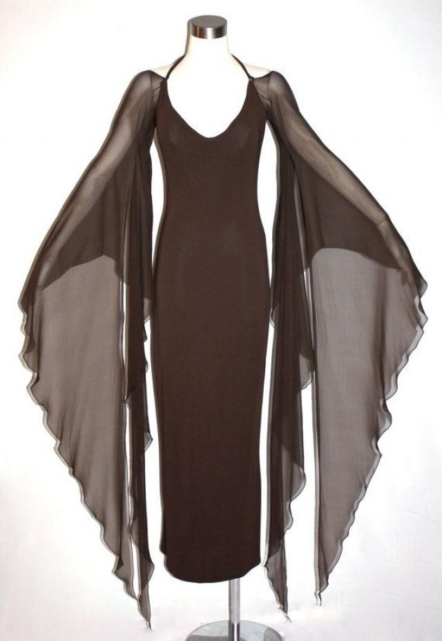 Vintage HALSTON Gown Brown Backless Halter Angel Sleeve Maxi Dress ...