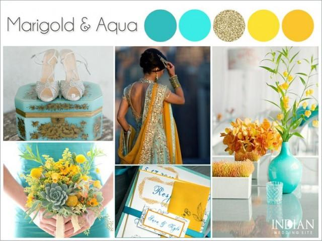 aqua marigold yellow and gold indian wedding color