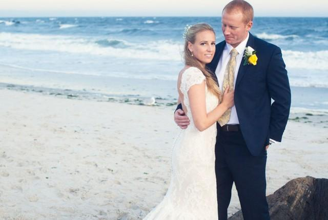 Classic beach wedding in navy yellow along the shores of for Beach weddings in ny