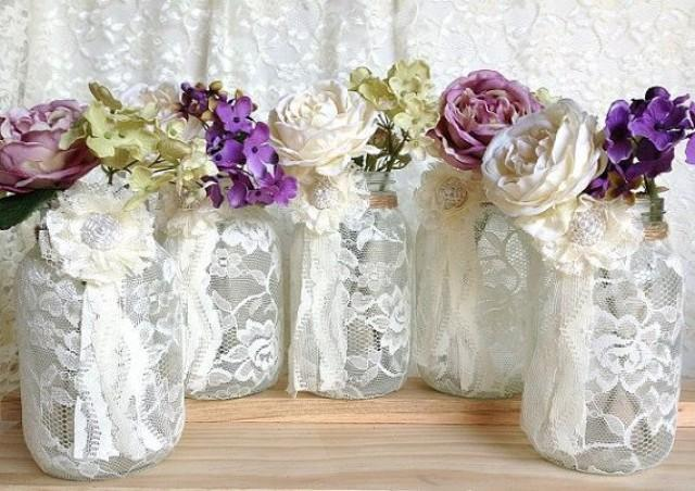 5 ivory lace covered jar perfect for wedding decorations for How to decorate for a bridal shower at home