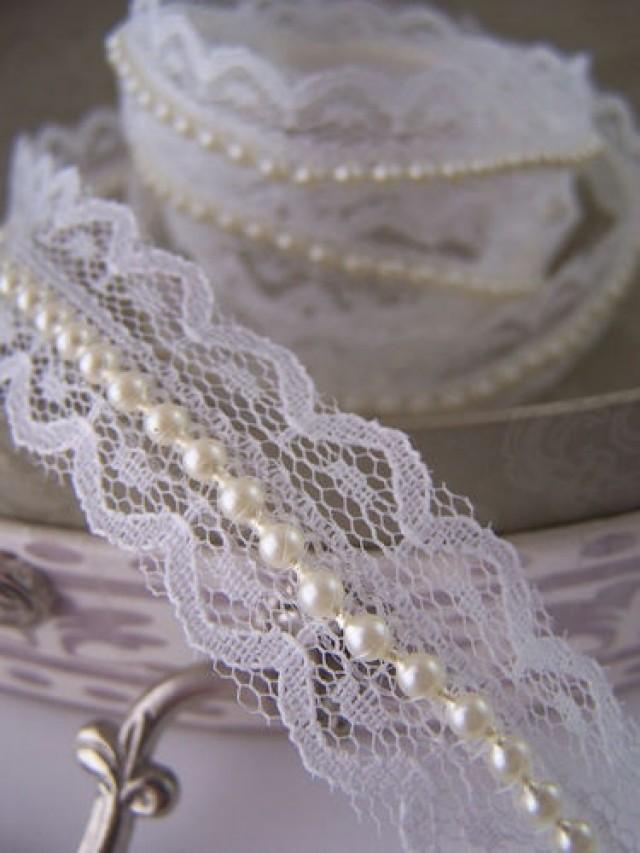 Ivory Lace And Pearl Beaded Trimming Ribbon Vintage