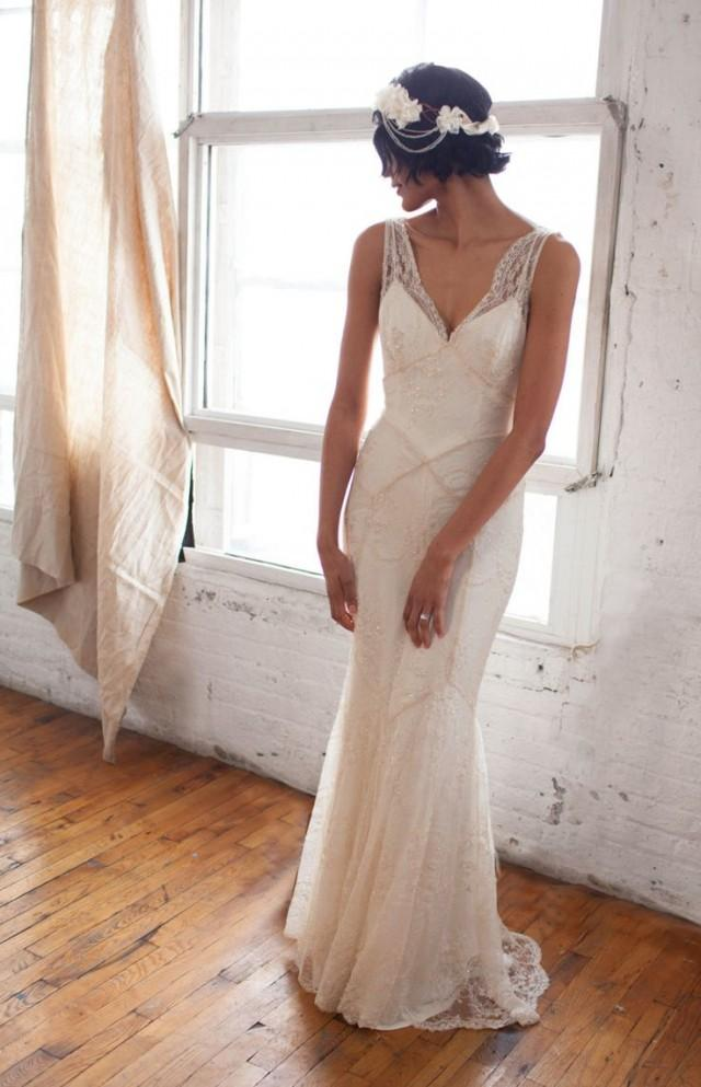 art deco 1930s inspired sleeveless bridal gown with bias silk slip