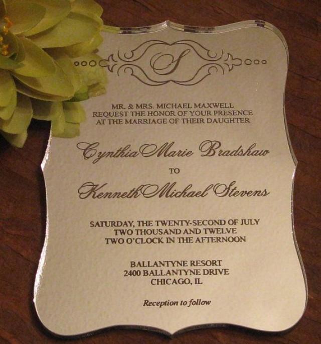 Silver Mirror Acrylic Wedding Invitation Sample 2049569