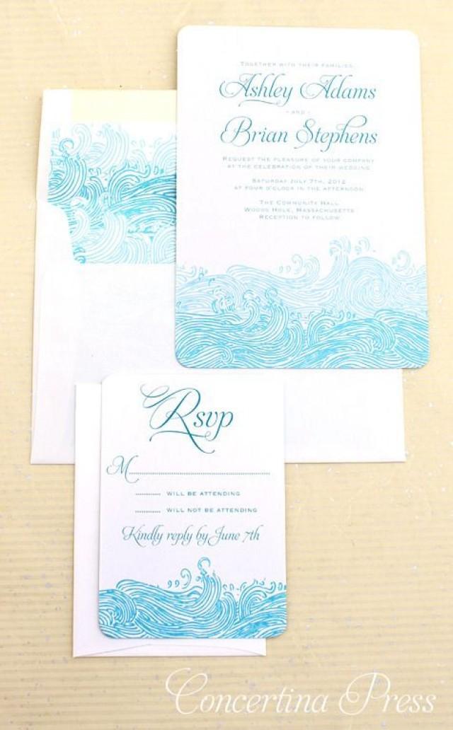 Tropical wedding waves beach wedding invitations for Beach wedding invitations with pictures