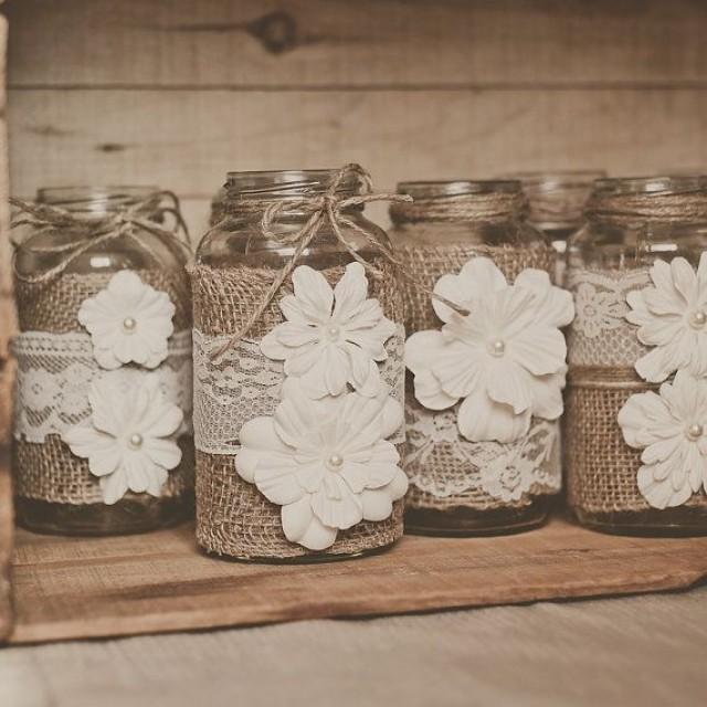 wedding photo - 10 Lace And Burlap, Wedding Centerpieces. Lace And Burlap Wedding. Rustic Wedding, Barn Wedding. Mason Jar