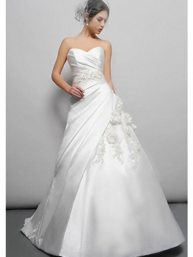 wedding photo - A-Line Chapel Trailing Strapless Sweetheart Flowers And Beads Taffeta Wedding Gowns