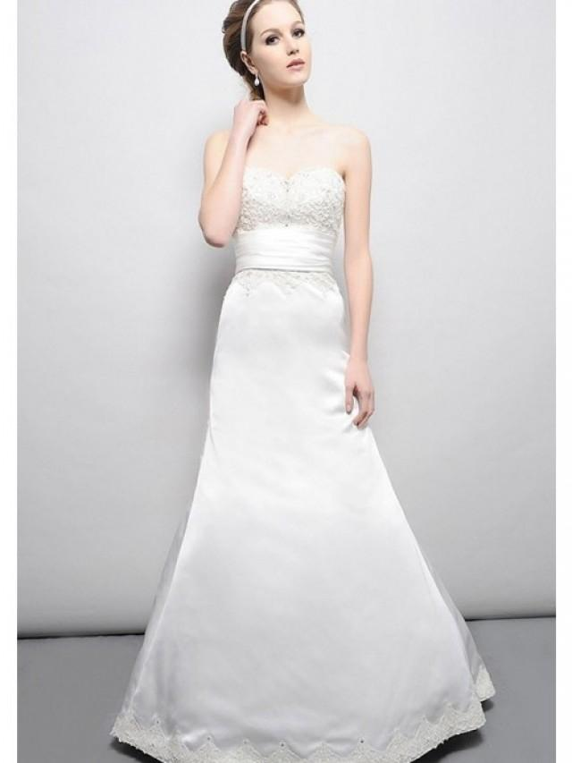 wedding photo - A-Line Strapless Sweetheart Chapel Trailing Waistband Embroidery Lace Up Back Wedding Gowns