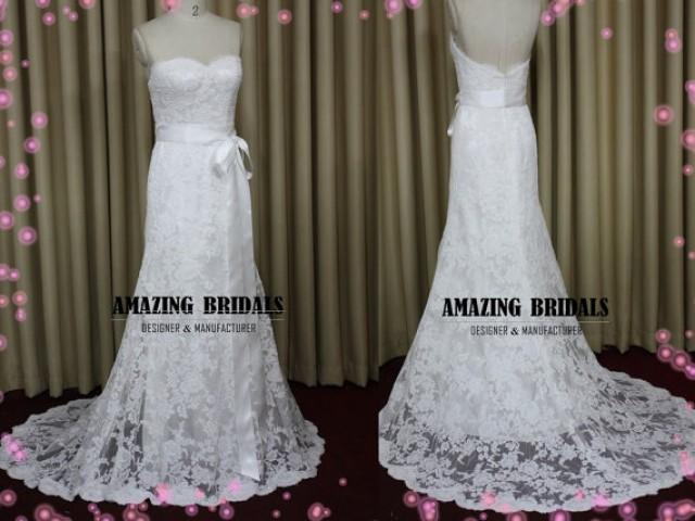 Backless wedding dress low back lace wedding dress for Strapless backless wedding dress