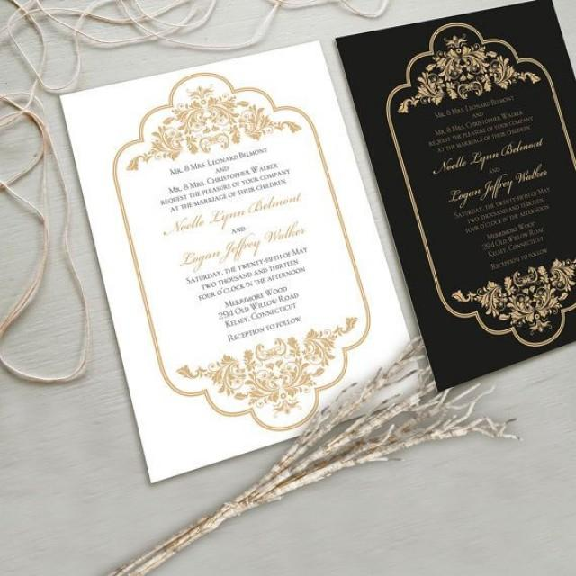Timeless And Elegant Wedding Invitation Suite White Gold Black Other Color Combinations Possible 2052998
