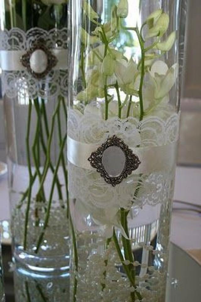 Vintage wedding lace vases weddbook