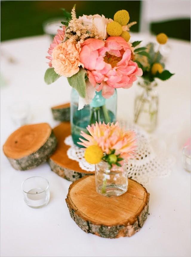 Spring wedding small floral arrangements mason jars