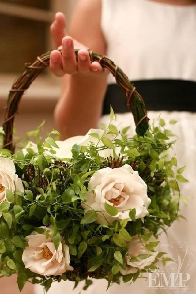 Flower Baskets Wedding : Green wedding flower girl basket weddbook