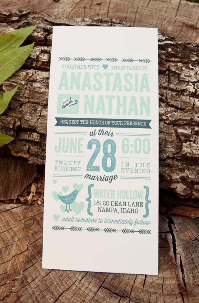 Wedding invitation rustic vintage letterpress inspired for Minted navy wedding invitations