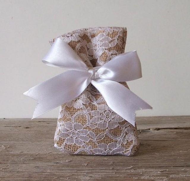 Pc) Burlap Favor Bags Lace Favor Bag For Rustic Wedding, Beach Wedding ...