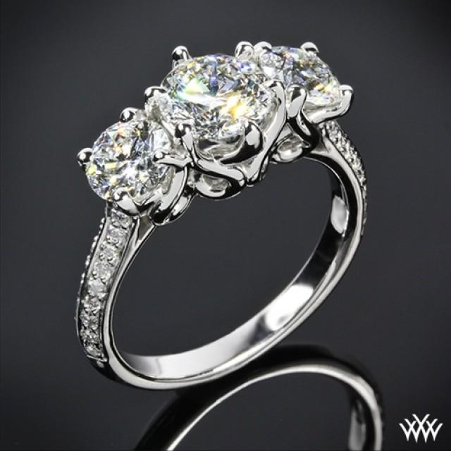 """18k White Gold Vatche """"Swan"""" 3 Stone Engagement Ring Setting ly"""