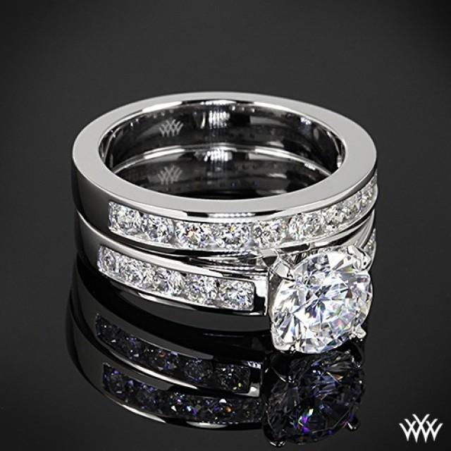 18k White Gold Cathedral Channel Set Diamond Engagement Ring And Wedding Ring 2056213