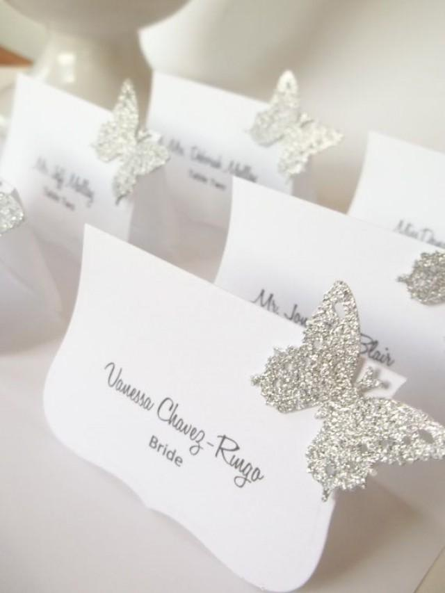 Wedding escort card wedding butterfly place cards for Name place cards wedding