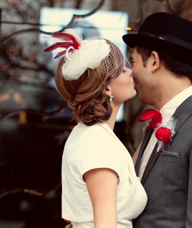 Vintage Wedding Hairstyles With Birdcage Veil: Bridal Hat, Birdcage Veil, Red, White, Ivory- The Caroline