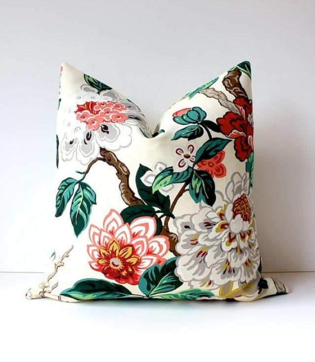 Modern Floral Pillow : Modern Emerald Pink Decorative Designer Pillow Cover 18