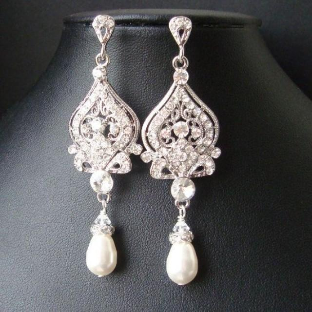 Victorian Style Bridal Earrings White Ivory Pearl And