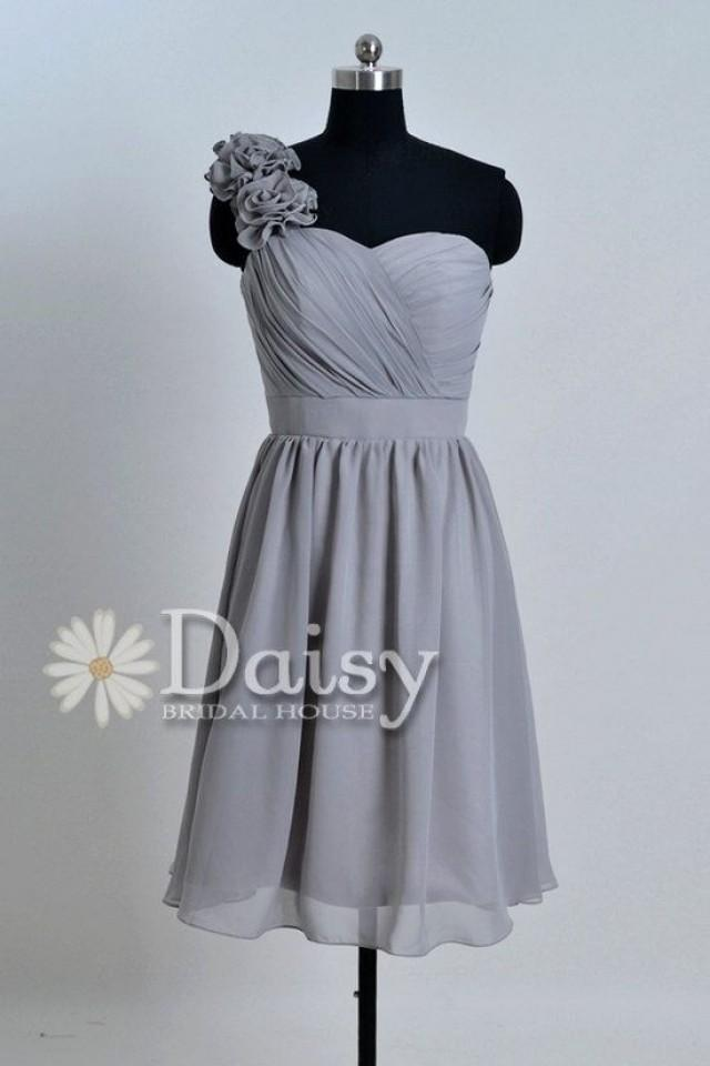 Custom grey bridesmaid dress special chiffon wedding party for Gray dresses for a wedding