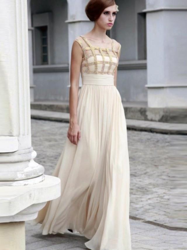 wedding photo - A-line Scoop Rhinestone Sleeveless Floor-length Chiffon Prom Dresses