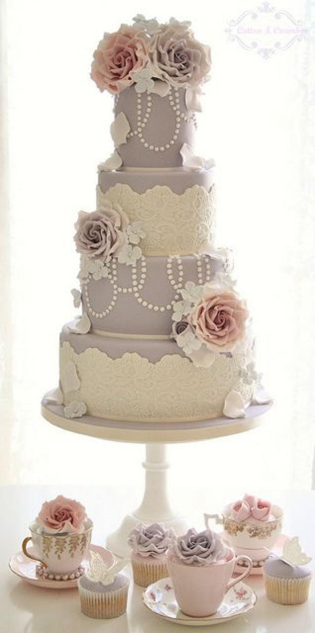 Pastel Wedding Pastel Vintage Inspired Wedding Cake 2060963 Weddbook