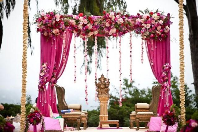 Fuchsia wedding pink flowery mandap 2060987 weddbook for Artificial flower decoration mandap