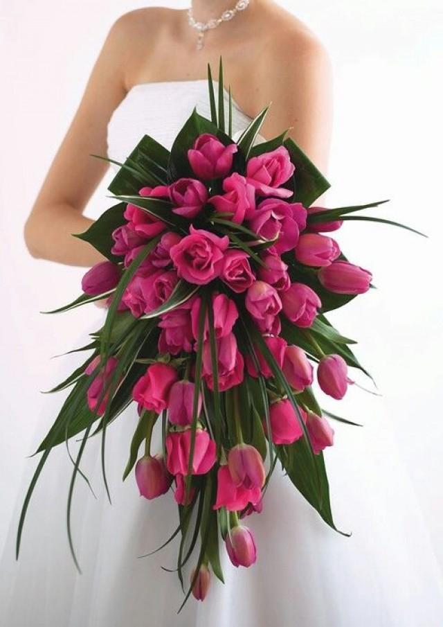 Bridal Bouquets Using Tulips : Bouquet flower tulip cascade weddbook