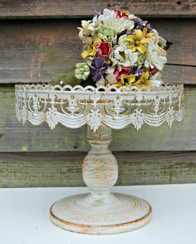 Wedding Cake Shabby Chic Vintage Style Rustic Pedestal